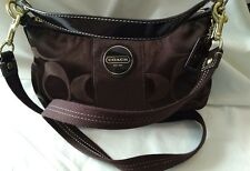 COACH Legacy Stripe Brown Sateen w/Patent Leather Trim Convertible HOBO Bag