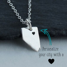 Personalized Nevada State Necklace - Heart Engraved Near City - Sterling Silver