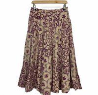 Sportscraft Womens Pink/Brown Long Lined Maxi Skirt  Size 6 W28
