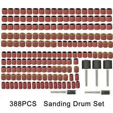 388PCS Sanding Bands Drum Sleeve Grit Mandrel Dremel Rotary Tool Kit Accessorie
