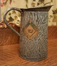 """Antique Gray Mottled Speckled Graniteware Small Pitcher 8""""x5"""" N.E.&S. Co. Label!"""