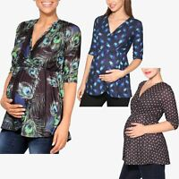 Maternity Wrap Long Tunic Top Blouse  V Neck Stretch Flared Pregnancy Open Bump