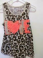 JUSTICE Girl's Size 14 Brown & Tan Animal Print Tank With Orange Toole & Glitter