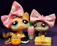 Littlest Pet Shop #1607 Kitten Gray Light Gray Ear #1608 Striped Tiger Kitty Cat