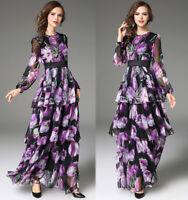 2018 Spring womens stylish temperament printing High Waist layered dress long