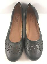 Josef Seibel Black Leather Pippa 29 Perforated Ballet Flats Womens Size EUR 38M