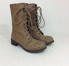 Soda Boots Size 8 Studded Toe Military Brown Lace Up Zipper Side Womens Taupe