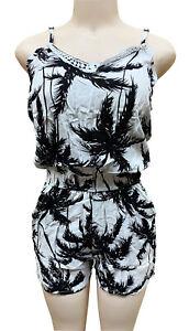 Women Jumpsuit Romper Holiday Summer Sundress White Base Palm Tree XL