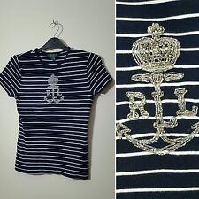 Ralph Lauren XS 6 8 Azul Marino A Rayas Raya náutica con cuentas T-Shirt Top Sailor