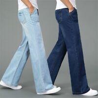 Men Bell Bottom Jeans 60s Retro Flared Denim Pants Retro Wide Leg Trouser Long