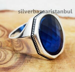 Turkish jewelry 925 Sterling Silver blue sapphire stone Mens FREE ring ALL SİZE