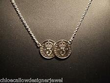 STERLING SILVER DOUBLE OLD COIN PENDANT NECKLACE 2 COIN TWO COIN