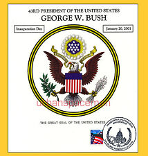 2001 Inauguration of George W Bush Great Seal of the US Souvenir Card Wash., DC
