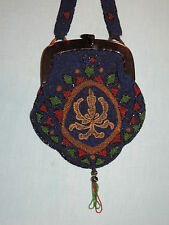1920 - 30's Large  Black  Floral Seed  Beaded Flapper Purse