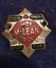 """VTg '70's  Mclean Trucking Co Safe Driving Pin Screw Back Threaded 7/8"""" 3rd Yr"""