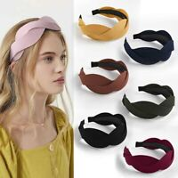 KQ_ Women Headband Twist Hairband Bow Knot Cross Tie Wide Headwear Hair Band Hoo