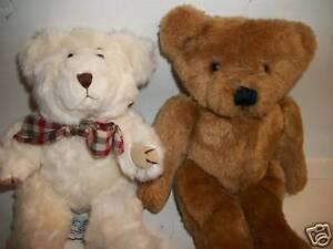 "Two 1980s Plush Teddy Bears, Hallmark & Bryon, 9"""