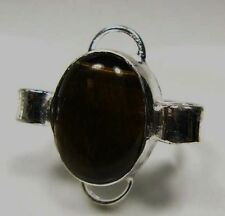 Beautiful Silver Plated Tiger Eye Ring Sz.5.75     # TER84