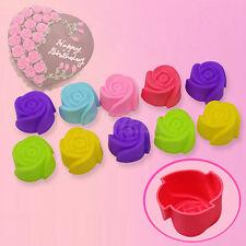 10x Stampo Torta Biscotti Muffin Cioccolatini Gelatina Forma Rosa Fiore Silicone