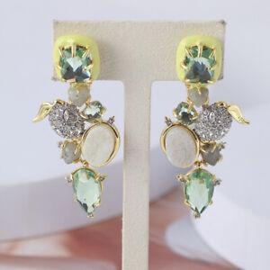 Alexis Bittar Enamel Green Stone Diamond Drop Earrings