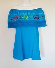 Mexican Women's Blouse Size L Embroidered Flowers On/Off Shoulder Blue Top