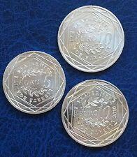 Lot monnaies pièces en argent 5, 10, 10 EUR France Alsace neuves NC silver coins