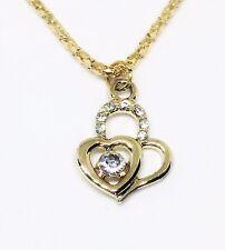 Colgante de Corazón 18K Cadena Collar Chapado en Oro Cristal Estrás Hermoso Lindo