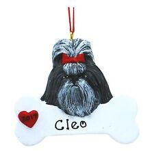 Personalized Dog Ornament Shih Tzu Cute Black Puppy Christmas Ornament Holiday