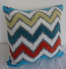 Turquoise, Grey, Teal, Yellow, Rust Red Velour & Jacquard Cushion Cover 45cmn