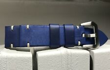 24mm UCLA Blue Leather strap for Panerai with brushed 22mm buckle included