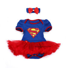 Baby Girls Kids Newborn Headband Jumpsuit Party Dress Outfit Tutu Clothes 0-3M