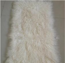 Real Mongolian Fur Throw Tibetan Lambskin Beige Fur Rug Plate Genuine Hide