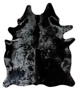 Black Dyed Cowhide Rug Brazilian Cowhide Rug Large Cow Hide Area Rug 5 x 6