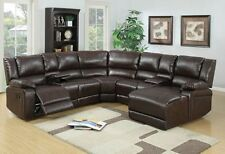 5 Pc BROWN BONDED LEATHER RECLINING SOFA RECLINER SECTIONAL Sofa SET Espresso