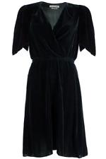 ISABEL MARANT ETOILE SZ 38/6 Black LYNNA Silk Blend Velvet Wrap Dress #1046