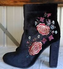 Therapy Black  FLORA Floral  Embroidered Velvet Style High Heel Boots Size 9