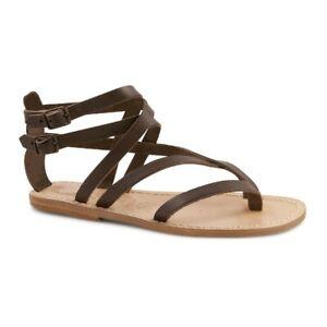 Handmade Women's gladiator thong sandals dark brown real leather Italian shoes