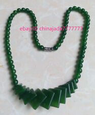 "Fashion Natural Green Jade Beads Jewelry Necklace 17"" Aaa grade"