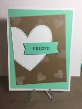 Card Kit Set Of 4 Stampin Up FRIEND Valentine's Day or Any Occasion Heart Banner