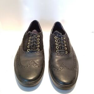 Cole Haan Black Suede Leather Brogue Wingtip Casual Shoes Mens 10 M