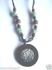 Paua shell resin disc pendant & Green Aventurine beaded necklace - Fair Trade