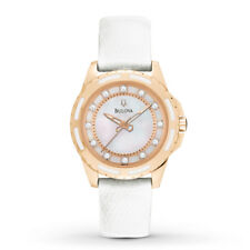 New Bulova Women's Rose Gold Enamel Inlay Leather Strap Watch 98P119 Tuning Fork