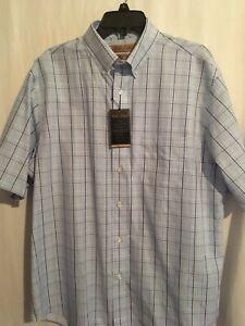 Roundtree Yorke Gold Label Men SS Shirt Cotton Sz L Blue Navy Green Checks NWT