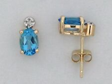 Natural Blue Topaz with Natural Diamond Stud Earrings Solid 14kt Yellow Gold