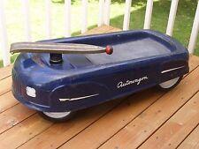 "Vintage 1940's Blue Autowagon Metal Child's Pull Car Auto Wagon Toy 42"" Long"