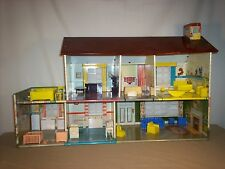 Vintage Marx Toy  2 Story Tin Doll House & Original Rare Accessories Disney
