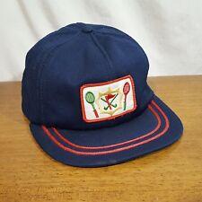 Vintage Tennis Badminton Field Hockey Blue Snapback Trucker Hat Cap