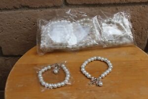 new 12 white glass faux pearl bracelets for communion party favors silver gold