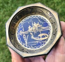 Oriental Temple River Design Blue Glass Hand Painted Dish