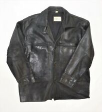 WOODLANDS MENS VINTAGE  BOX JACKET BLACK DISTRESSED SCABBY LEATHER SIZE L / XL